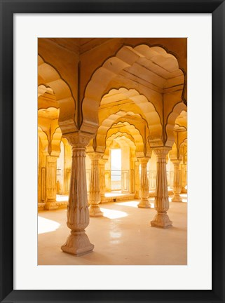 Framed Colonnaded gallery, Amber Fort, Jaipur, Rajasthan, India. Print