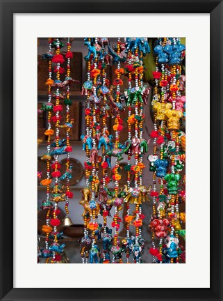 Framed Colorful souvenirs, Pushkar, Rajasthan, India. Print