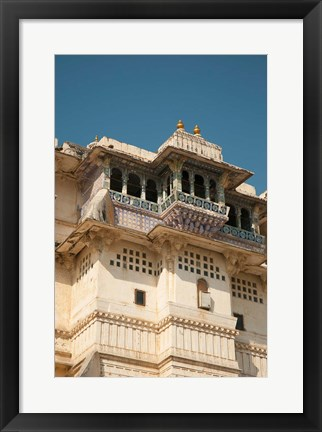 Framed Decorated balconies, City Palace, Udaipur, Rajasthan, India. Print