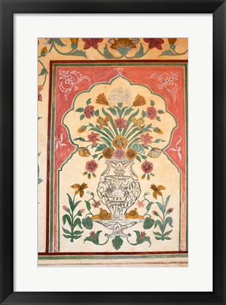 Framed Fresco, Amber Fort, Jaipur, Rajasthan, India. Print