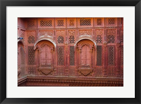 Framed Intricately carved walls of Mehrangarh Fort, Jodhpur, Rajasthan, India Print