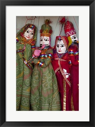 Framed Kathputli, traditional Rajasthani puppets, Pushkar, Rajasthan, India Print