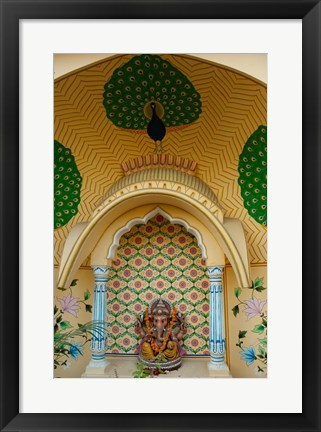 Framed Small shrine to Ganesh, Jaipur, Rajasthan, India. Print