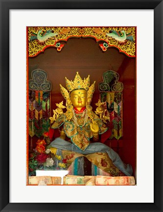Framed Statue in Thikese Monastery, Ladakh, India Print