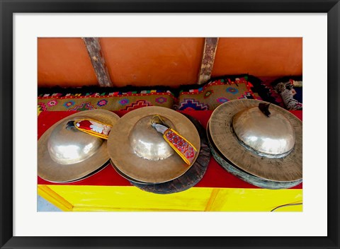 Framed Brass cymbals at Hemis Monastery, Ladakh, India Print