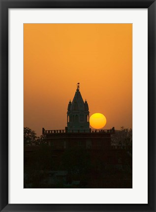 Framed Brahma Temple at sunset, Pushkar, Rajasthan, India Print