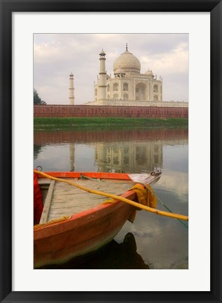 Framed Canoe in Water with Taj Mahal, Agra, India Print