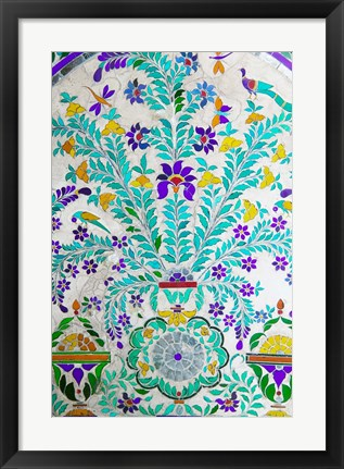 Framed Decorated Tile Painting at City Palace, Udaipur, Rajasthan, India Print