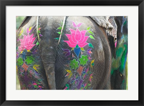 Framed Elephant Decorated with Colorful Painting at Elephant Festival, Jaipur, Rajasthan, India Print