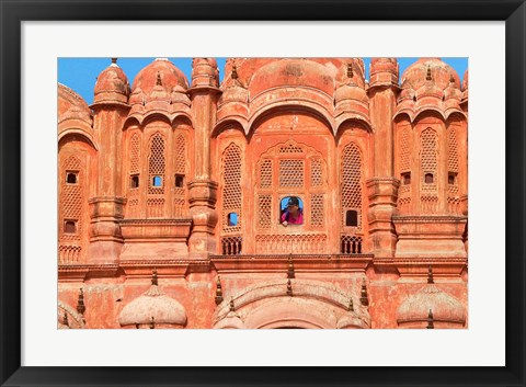 Framed Tourist by Window of Hawa Mahal, Palace of Winds, Jaipur, Rajasthan, India Print
