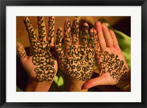 Framed Woman's Palm Decorated in Henna, Jaipur, Rajasthan, India Print