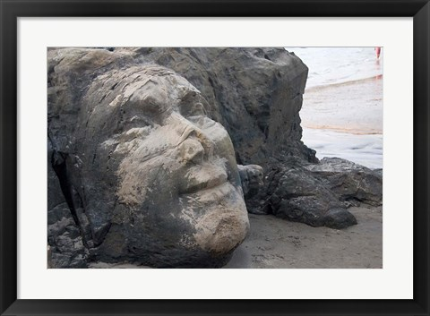 Framed Famous Face of Shiva on the Rock on Vagator Beach, Goa, India Print