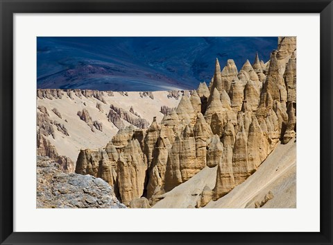 Framed Eroded formation of mountain, Himalayas, Ladakh, India Print