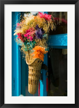 Framed Decorative Flowers in Shopping Village, Delhi, India Print