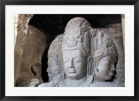 Framed Mahesamurti of Elephant Island Caves, Mumbai, India Print