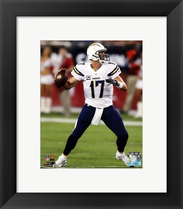 Framed Philip Rivers Passing Football Print
