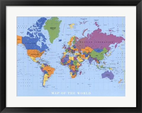Framed Map Of The World Print