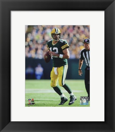 Framed Aaron Rodgers 2014 holding the ball Print