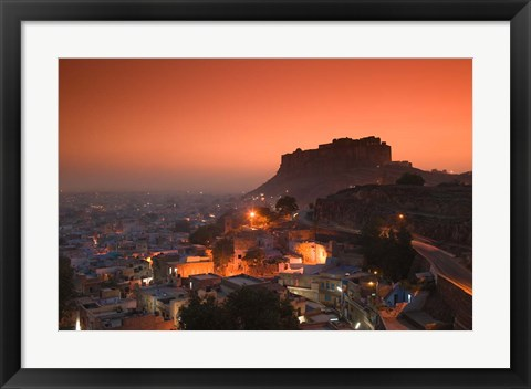 Framed Meherangarh Fort and Town, Rajasthan, India Print