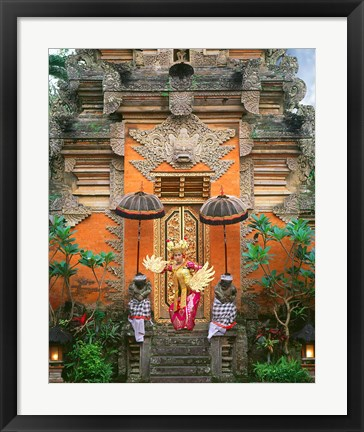 Framed Balinese Dancer Wearing Traditional Garb Near Palace Doors in Ubud, Bali, Indonesia Print