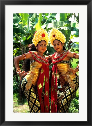 Framed Golden Dancers in Traditional Dress, Bali, Indonesia Print
