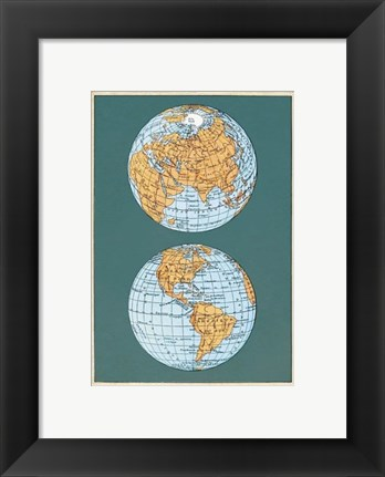 Framed Map of the World's Hemispheres, two views Print
