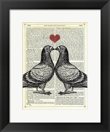 Framed Pigeons in Love Print
