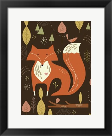 Framed Fox in the Woods Print
