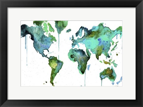 Framed Watercolor Map No. 6 Print