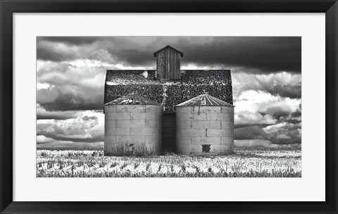 Framed Two Corn Cribs Print