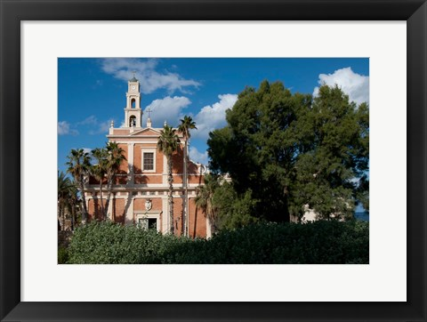 Framed St Peter's Catholic Church, Abrasha Summit Park, Jaffe, Israel Print