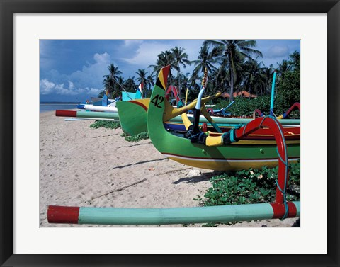 Framed Fishing Outriggers on Sanur Beach, Indonesia Print