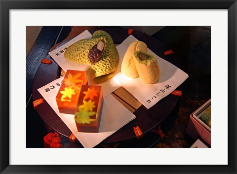 Framed Display of Autumn seasonal sweets, Tokyo, Japan Print