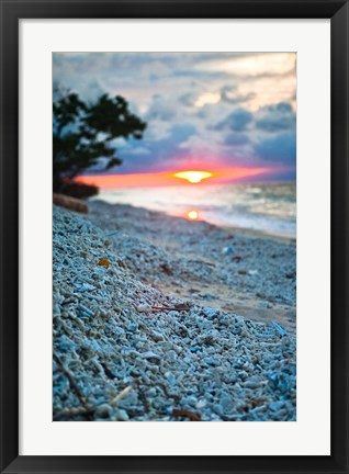 Framed Gili Islands, Indonesia, Sunset along the beach Print