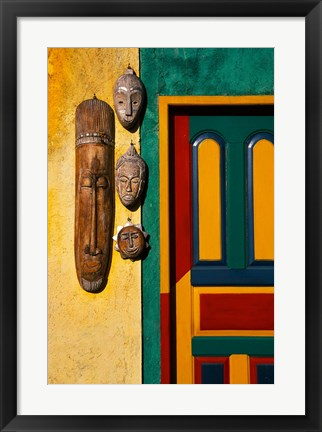 Framed Decorated Door with Handcrafted Masks in Ubud, Bali, Indonesia Print