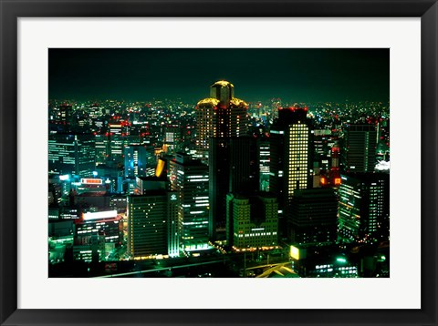 Framed Aerial View of Downtown Skyline, Osaka, Japan Print