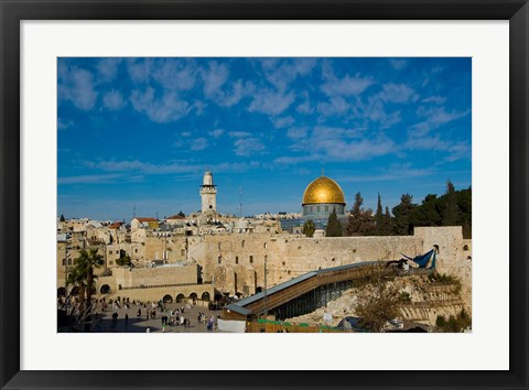 Framed Israel, Jerusalem, Western Wall and Dome of the Rock Print