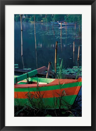 Framed Colorful Boat Moored at Lake Bratan, Bali, Indonesia Print