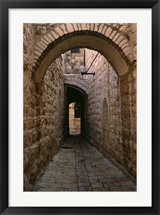 Framed Arch of Jerusalem Stone and Narrow Lane, Israel Print