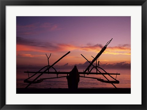 Framed Indonesia, Perahu, Doubleoutrigger fishing canoe Print
