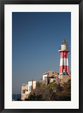 Framed Israel, Tel Aviv, Jaffa, Jaffa Old Port, lighthouse Print