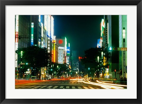 Framed Expensive Shopping District with Night Traffic, Ginza Area, Tokyo, Japan Print