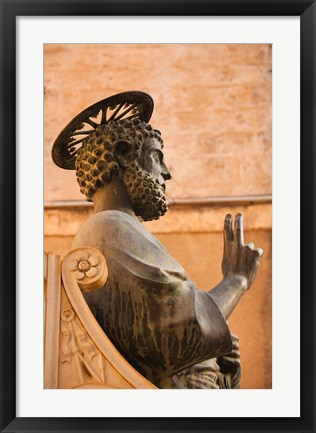 Framed Israel, Galilee, Tiberias, St Peters Parish, Statue Print