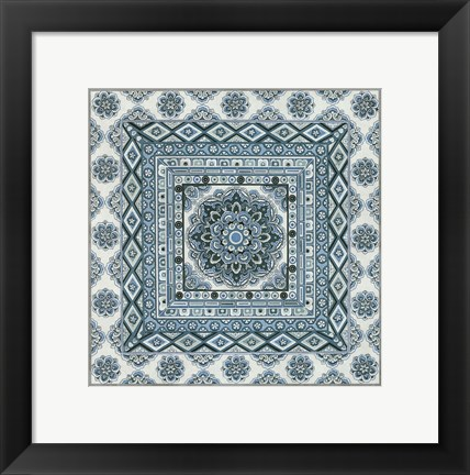 Framed Blue Silver Tile II Print