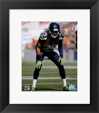 Framed Richard Sherman 2014 ready position Print