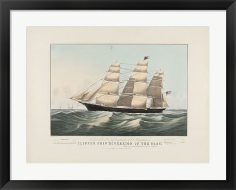 "Framed Clipper Ship ""Sovereign of the Seas"", 1852 Print"
