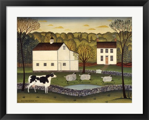 Framed White Farm Print