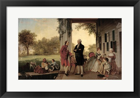 Framed Washington and Lafayette at Mount Vernon, 1784, 1859 Print