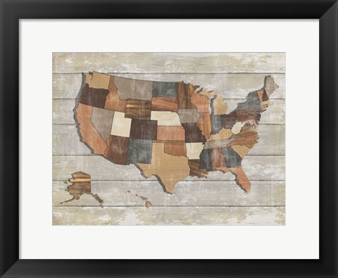Framed Wood Map Print