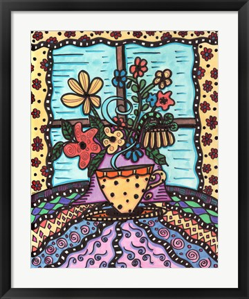 Framed Coffee With Flowers Print